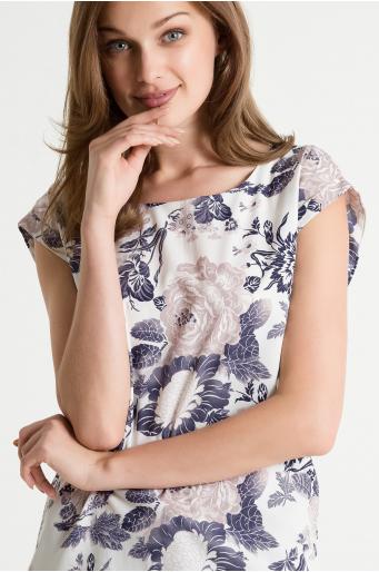 Bluzka we wzory z krótkim rękawem