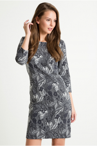 Sukienka z wiskozowej dzianiny żakardowej