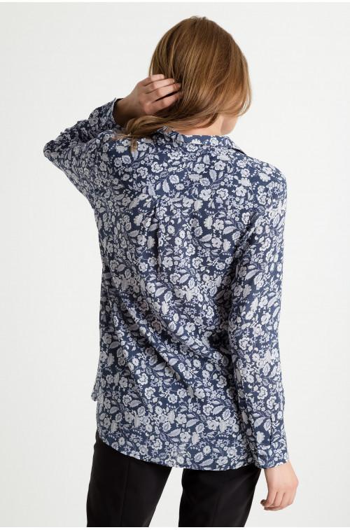 Wiskozowa bluzka koszulowa z nadrukiem
