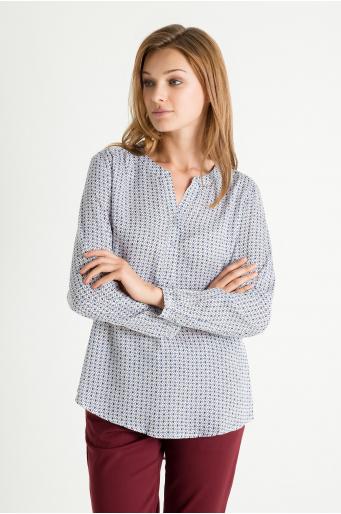 Wiskozowa bluzka z nadrukiem, dekolt w szpic