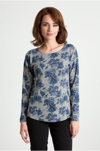 Wiskozowy sweter z nadrukiem