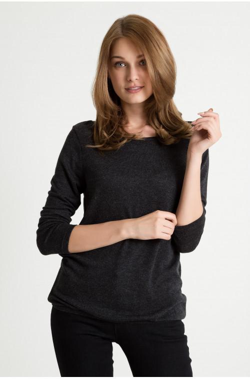 Wiskozowy sweter z łezką na plecach