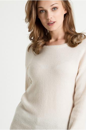 Prosty sweter z okrągłym dekoltem
