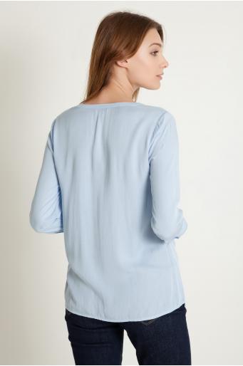 Wiskozowa bluzka z dekoltem w szpic