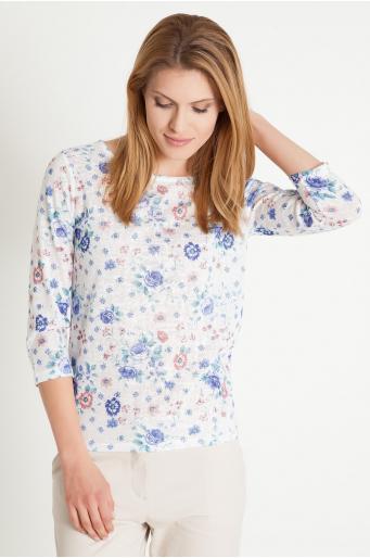 Sweter z nadrukiem w kwiaty