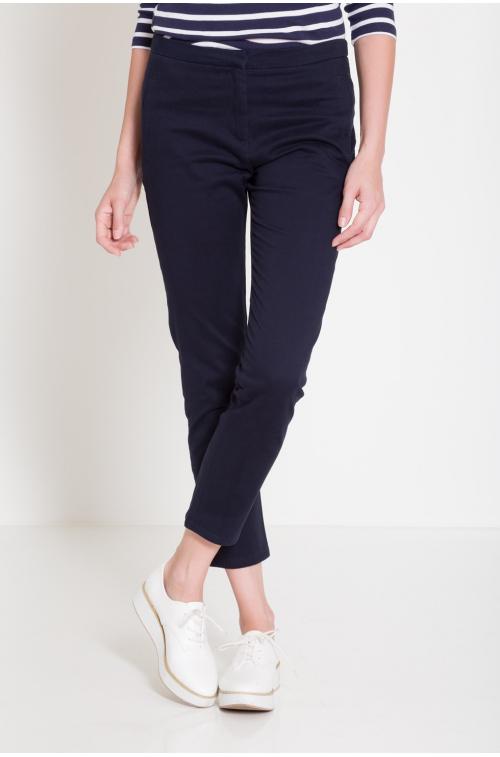 Bawełniane spodnie z prostą nogawką
