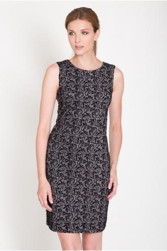 Elastyczna sukienka z wyszywanym wzorem