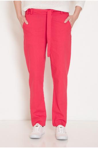 Lniane spodnie z wiązaniem w pasie