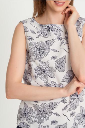 Wzorzysta bluzka bez rękawów