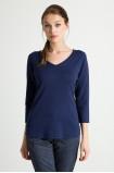 Dopasowany sweter, dekolt w szpic