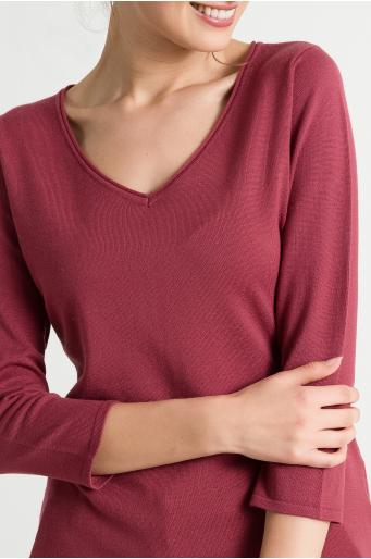 Sweter z wiskozy z dekoltem w serek