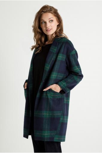Płaszcz tkaninowy w kratę