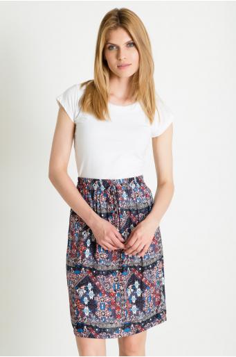 Spódnica wiskozowa z ozdobnym nadrukiem