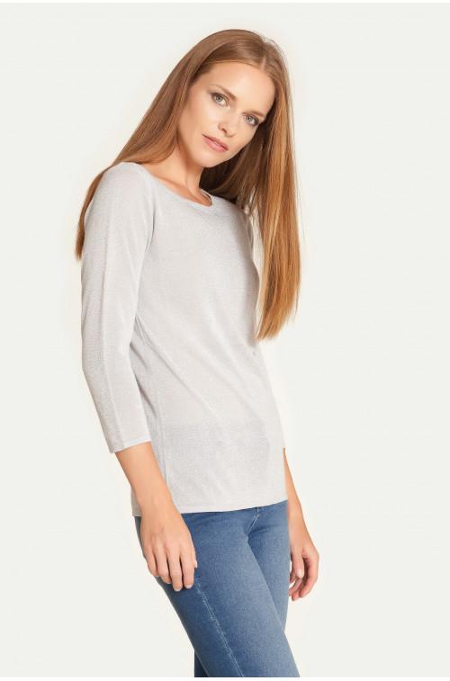 Klasyczny sweter z połyskującej dzianiny