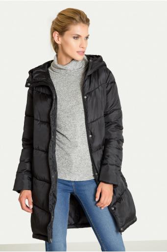Pikowana kurtka typu 'oversize' z kapturem