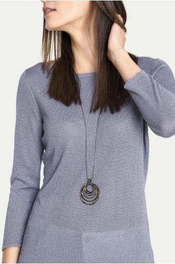 Wiskozowy sweter z połyskującej dzianiny