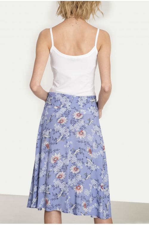 Rozkloszowana wiskozowa spódnica z nadrukiem