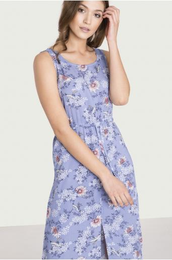 Długa, wiskozowa sukienka z nadrukiem