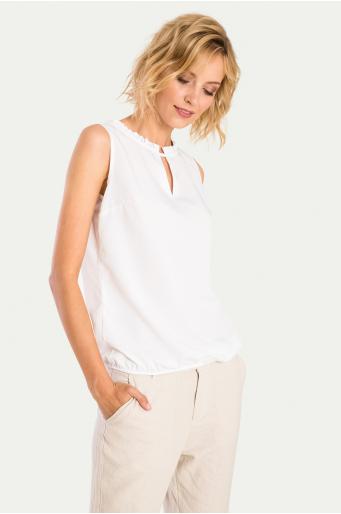 Elegancka bluzka z ozdobnym wykończeniem dekoltu