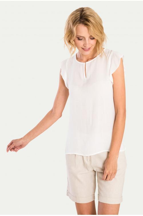 Wiskozowa bluzka z ozdobnym rękawkiem
