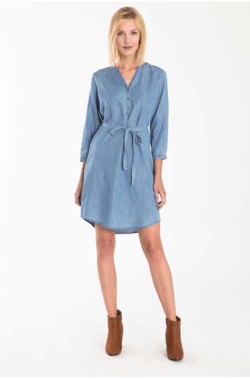 Bawełniana sukienka z paskiem w talii