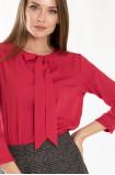 Elegancka czerwona bluzka z kokardą