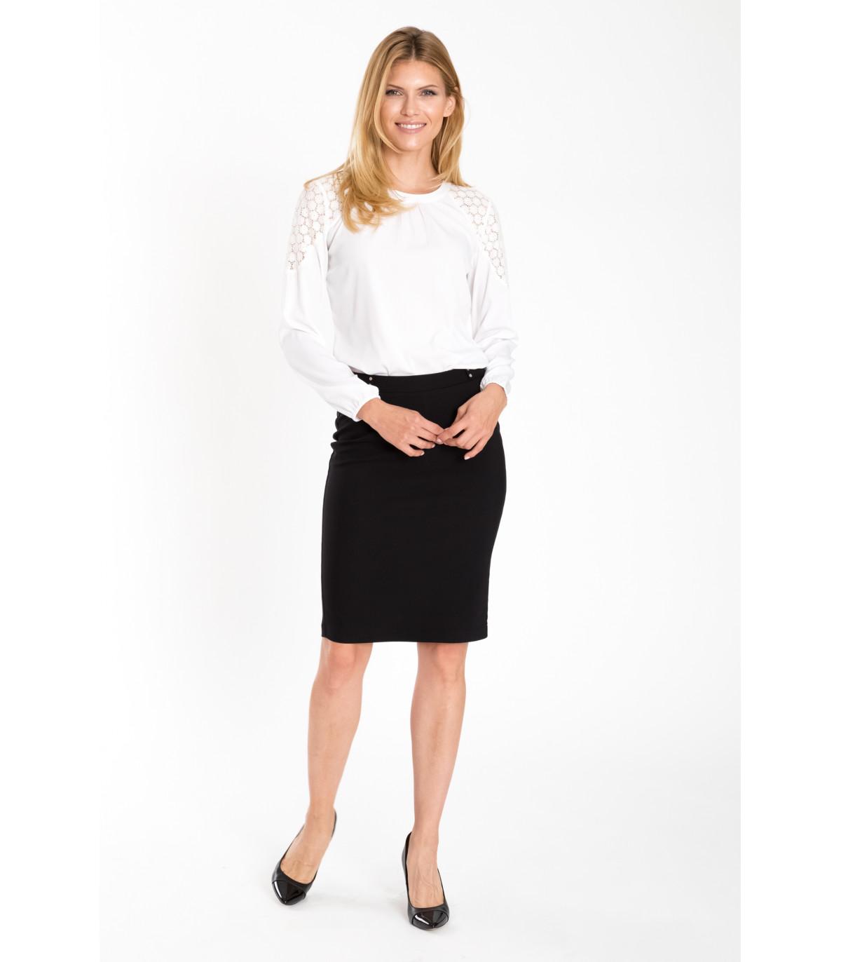 Zaktualizowano Czarna elegancka spódnica z dekoracyjnym paskiem Rozmiar 38 Kolor QI16