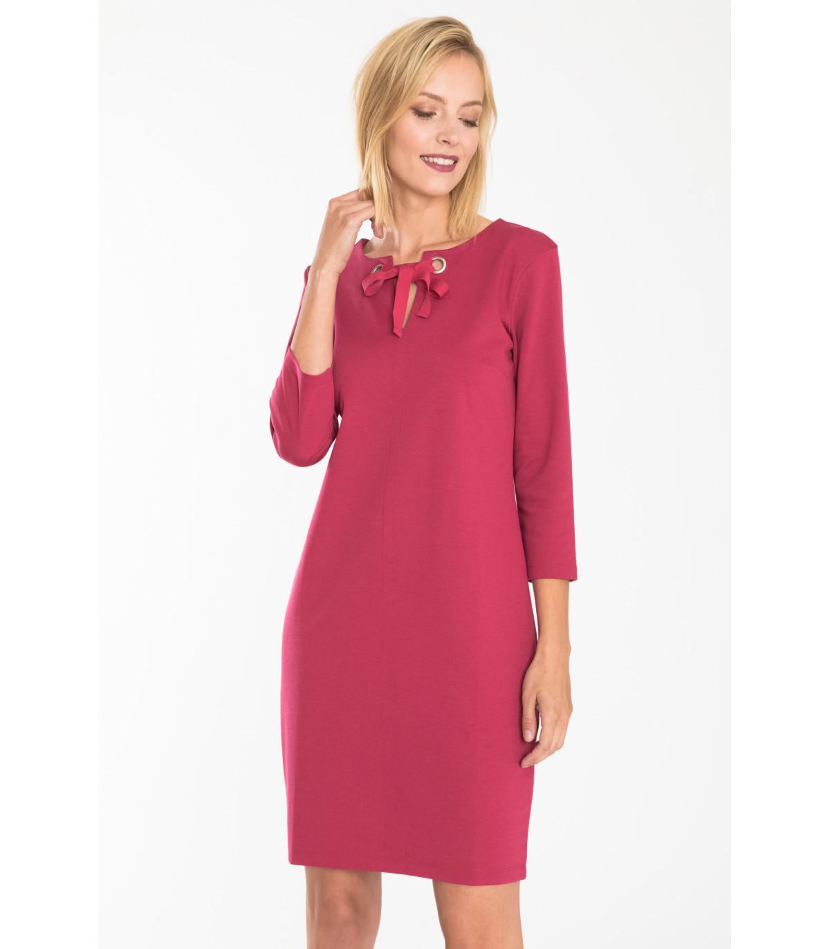 4ad6463822 Czerwona elegancka sukienka dzianinowa Rozmiar 36 Kolor B18REROU