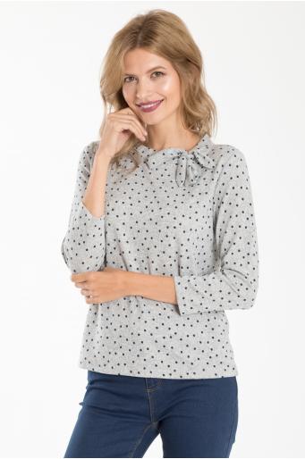 Sweter z nadrukiem i dekoracyjnym wiązaniem
