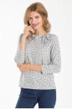 Sweter z nadrukiem w kropki i ozdobnym wiązaniem