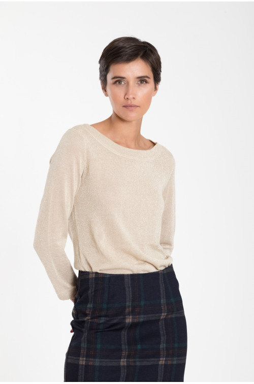 Połyskujący sweterek z dekoracyjnym wiązaniem na plecach