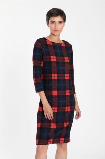 Luźna sukienka z motywem kraty