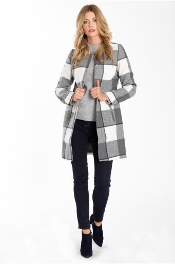 Płaszcz z nadrukiem w kratkę