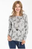 Szary sweter z nadrukiem w kwiaty