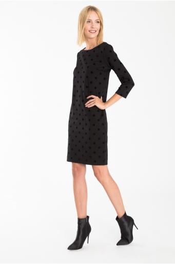Dopasowana sukienka z nadrukiem w kropki