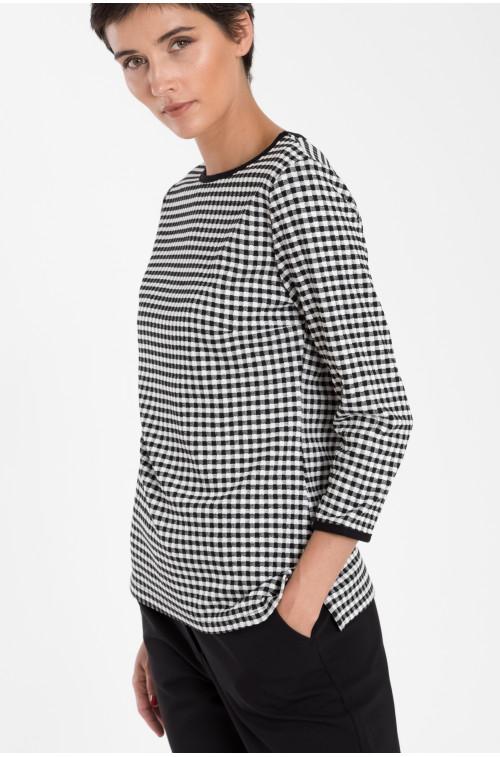 Modernistyczne Bluzka dzianinowa w kratkę Rozmiar 36 Kolor B18CHE57 DM78