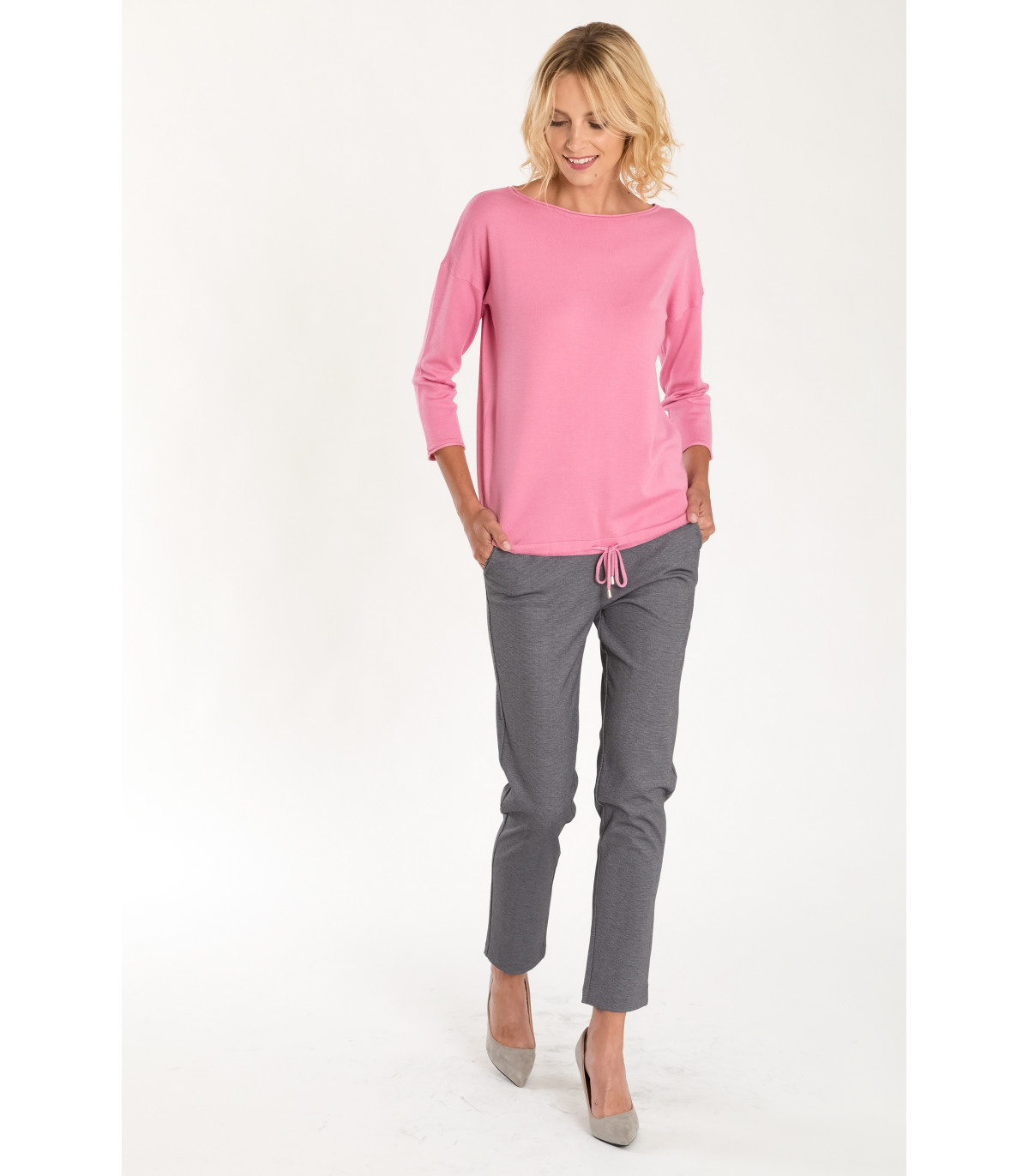 9777b97f Eleganckie szare spodnie z podniesionym stanem Rozmiar 44 Kolor B18CHE10