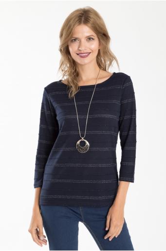 Sweterek w paski z połyskującą nitką