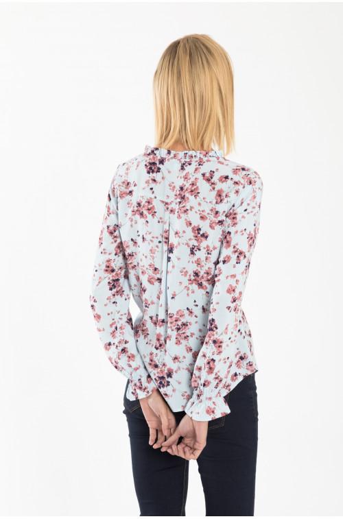 Wiskozowa bluzka z nadrukiem i ozdobnym wiązaniem