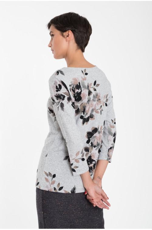 Luźny sweter z nadrukiem