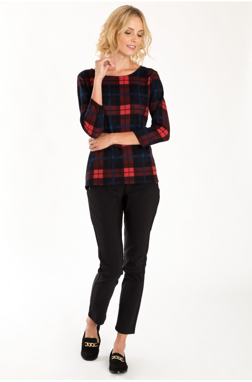 Luźny sweter z motywem kraty