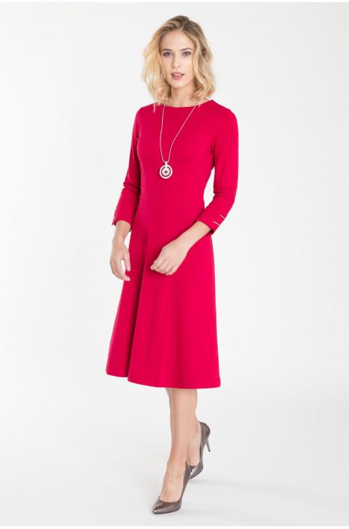 Rozkloszowana sukienka dzianinowa