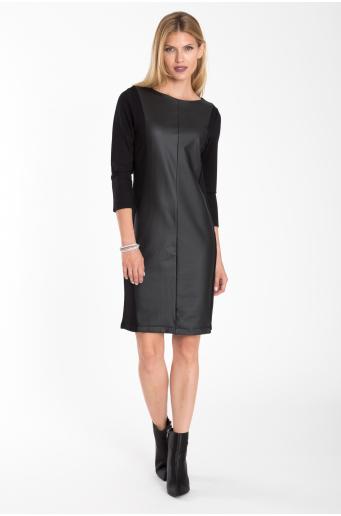 Dopasowana sukienka ze wstawką z ekologicznej skóry
