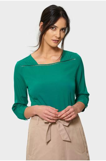 Zielona elegancka bluzka z merażką