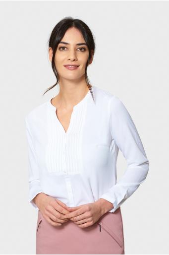 Biała elegancka bluzka z zakładkami
