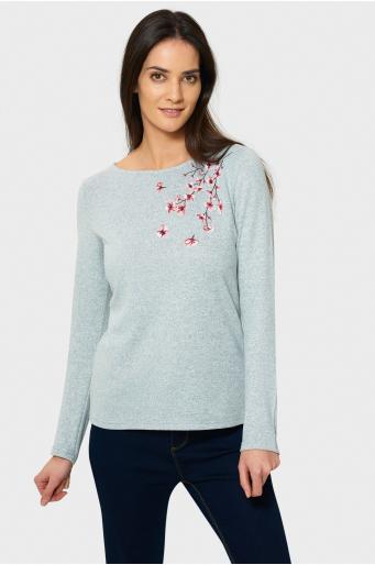 Sweter z kwiatowym haftem