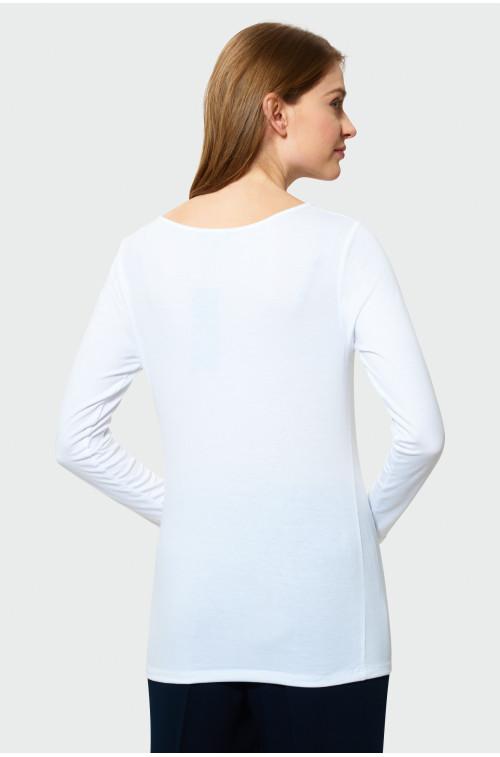 Biały top z ozdobym dekoltem