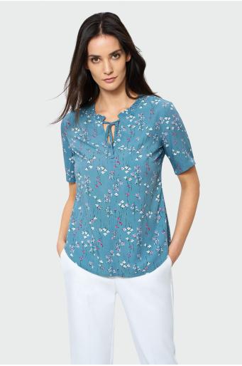 Wiskozowa bluzka z dekoracyjną falbanką