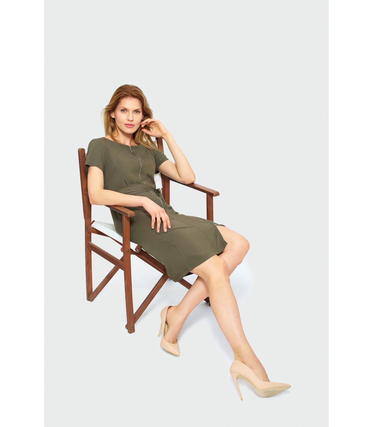 804c4f1c2e Dopasowana sukienka z zamkiem Rozmiar 38 Kolor S19OLIVE