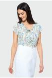 Elegancka bluzka z wiązanym dekoltem